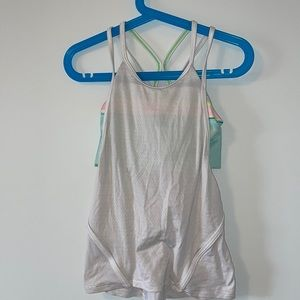 Ivivva size 6 white tank top with built in sorts bra